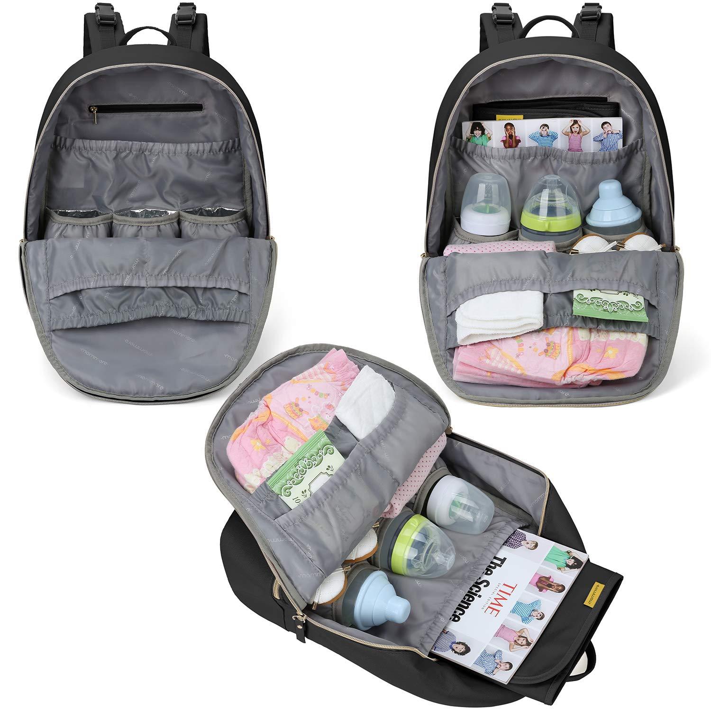 mommore Baby Wickelrucksack Gro/ß Wickeltasche mit Wickelunterlage Babytasche an Kinderwagen