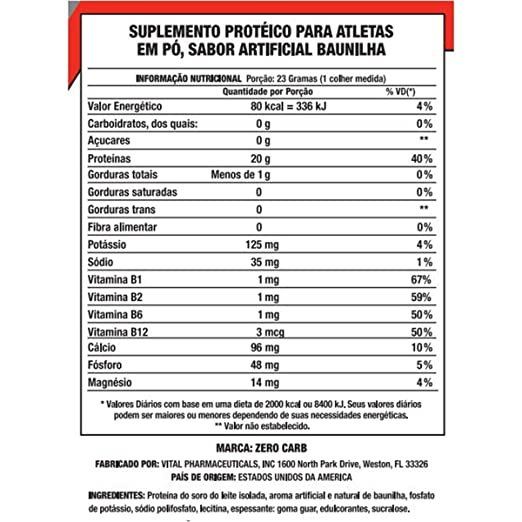 Amazon.com: Zero Carb Protein, 100% Whey Protein Isolate, Vanilla, 2 lbs, From VPX: Health & Personal Care
