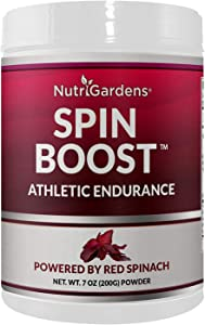 Nutrigardens Spin Boost Athletic Endurance Nitric Oxide Pre-Workout Powder Concentrated Superfood Powered by Red Spinach and Beet Juice Powder Delivers Minimum 400mg Nitrate per Serving (20 Servings)