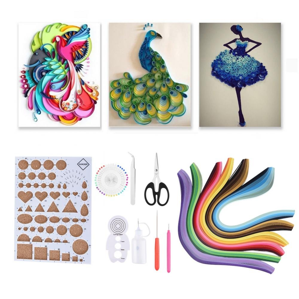 14PCS Kits de quilling de papel 6 colores DIY Handcraft Decoration Art Paper Strips Set para principiantes Incluido Regla Pinzas Cart/ón