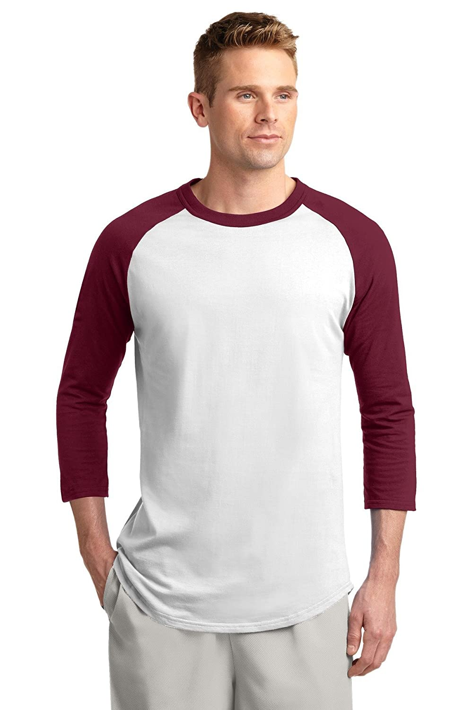 Sport-Tek raglan sleeve men's baseball t-shirt, Medium, White-Gold