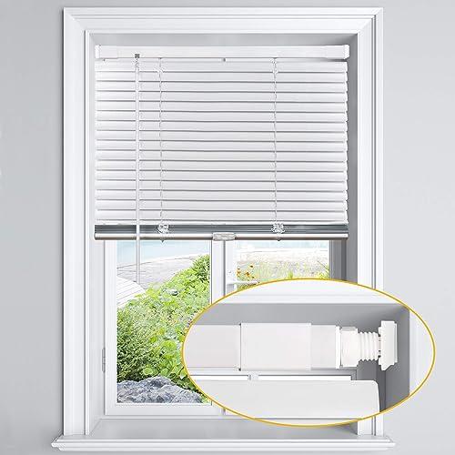 LazBlinds Cordless No Tools-No Drill 1″ Aluminum Horizontal Mini Blinds Shade