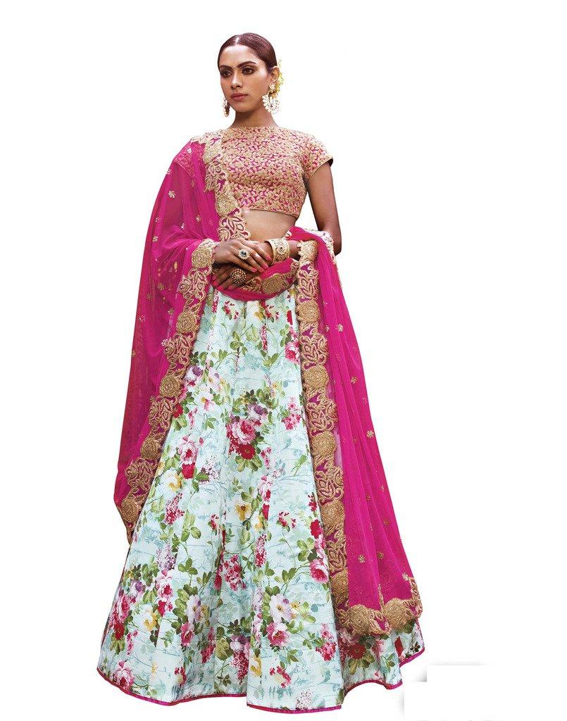 DesiButik's Wedding Wear Elegant Sky Blue Satin Print Lehenga