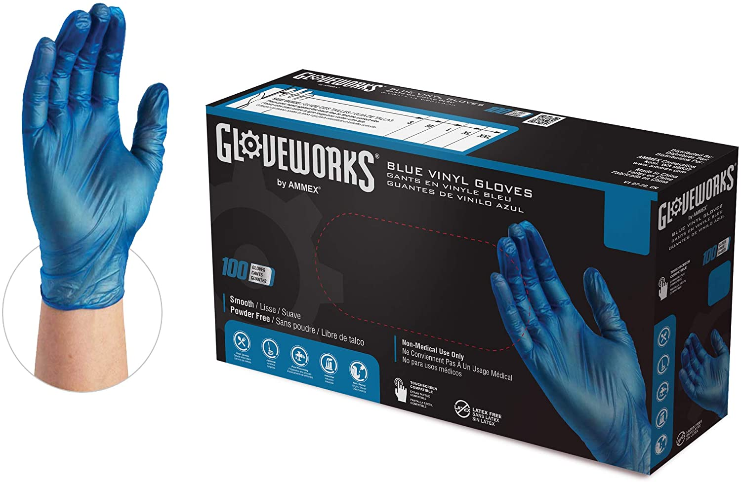GLOVEPLUS GLOVEPLUS Industrial Blue VinylGloves, Box of 100, 4 mil, Size Medium, Latex Free, Powder Free, Food Safe, Disposable, Non-Sterile, IVBPF44100-BX