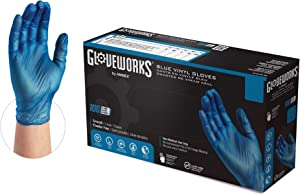 GLOVEPLUS GLOVEPLUS Industrial Blue VinylGloves, Box of 100, 4 mil, Size Medium, Latex Free, Powder Free, Food Safe, Disposable, Non-Sterile, IVBPF44100-BX