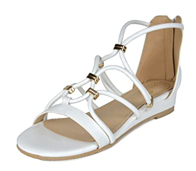 9ab8fcb9b324 DREAM PAIRS Women s Formosa 2 White Pu Low Platform Wedges Ankle Strap  Sandals Size 5 B(