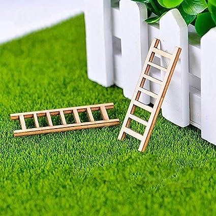 Sprießen 60x23MM Jardín Miniatura Adornos 2 Piezas Mini Escalera de Madera Miniatura jardín Hada DIY Micro Paisaje decoración: Amazon.es: Oficina y papelería