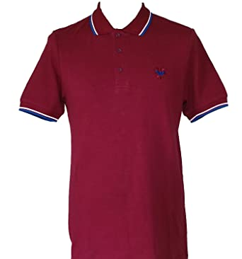 0d94ac57e Warrior UK Men´s Pique Twin-Tipped Cotton Polo Shirt Burgundy Oxblood Skin  Mod