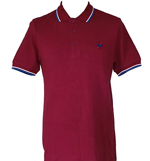 9ae65eab4 Warrior UK Men´s Pique Twin-Tipped Cotton Polo Shirt Burgundy Oxblood Skin  Mod