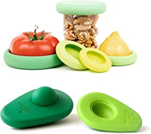 Food Huggers Zero Waste Starter Kit - (7 Pieces) - Reusable Silicone Food Savers Sage Green (Set of 5) + Avocado Hugger Avocado Saver Covers (Set of 2), Keeps Food Fresh, Dishwasher Safe