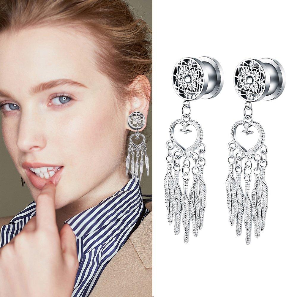 YIDULA Ear Gauges Dangle Plugs Tunnels for Ears Alloy Dreamer Pendant Piercings Jewelry Stainless Steel Pendants Tunnels Piercing 0g 8mm