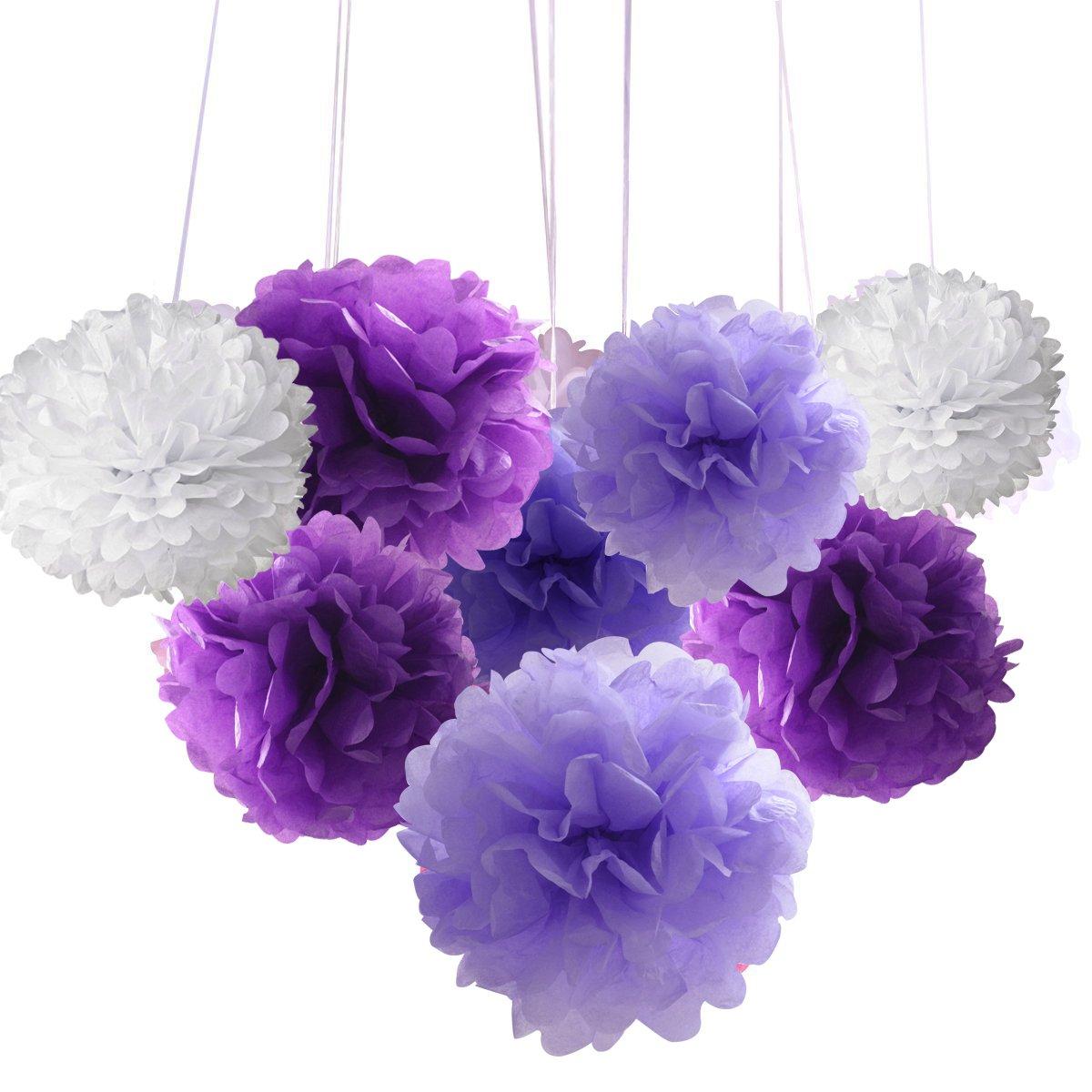 18pcs Tissue Hanging Paper Pom-poms Hmxpls Flower Ball Wedding Party Outdoor Decoration Premium Tissue Paper Pom Pom Flowers Craft Kit 8// 10// 12 Pink/& White