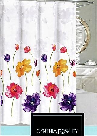 Amazon.com: Cynthia Rowley Fabric Shower Curtain Blue Purple Red ...