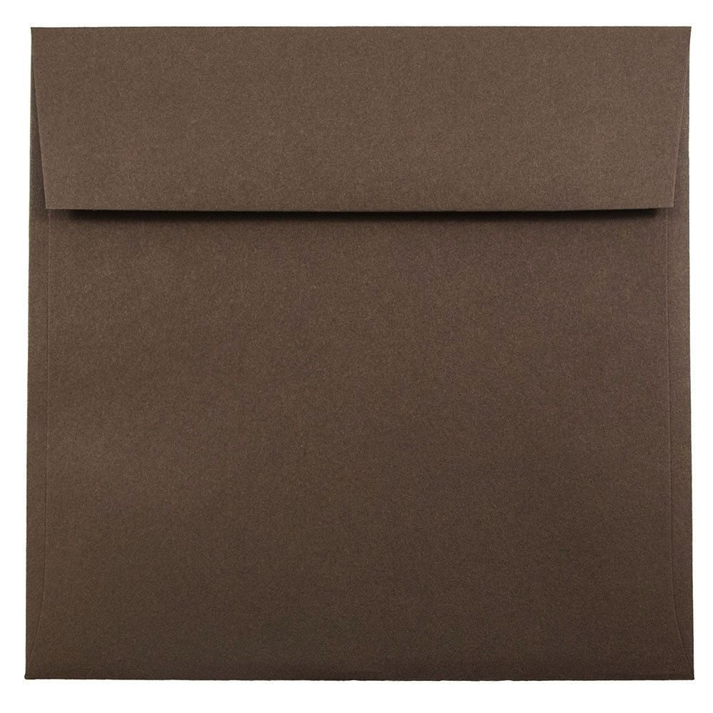 JAM Paper 7.5'' x 7.5'' Square Envelopes - Chocolate Brown Recycled - 1000/carton