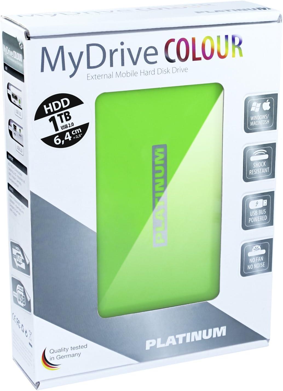 Platinum MyDrive 1 TB Externe Festplatte (6,4 cm (2,5 Zoll), 5400 Umin, 8 ms, 8 MB Cache, USB 2.0) grün