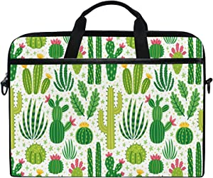 JOKERR Laptop Case Bag Cartoon Cactus Flower Pattern 14 inch to 14.5 inch Briefcase Messenger Computer Sleeve Tablet Bag with Shoulder Strap Handle for Boys Girls