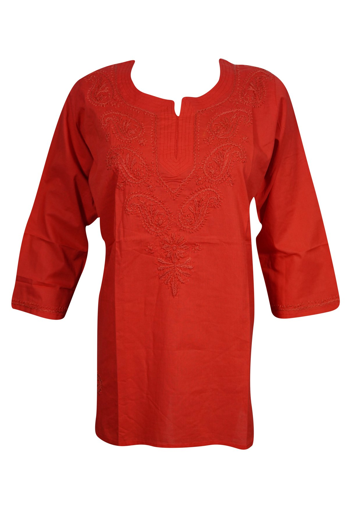 Mogul Interior Womens Tunic Top Cotton Chikan Floral Embroidered Bohemian India Kurta S