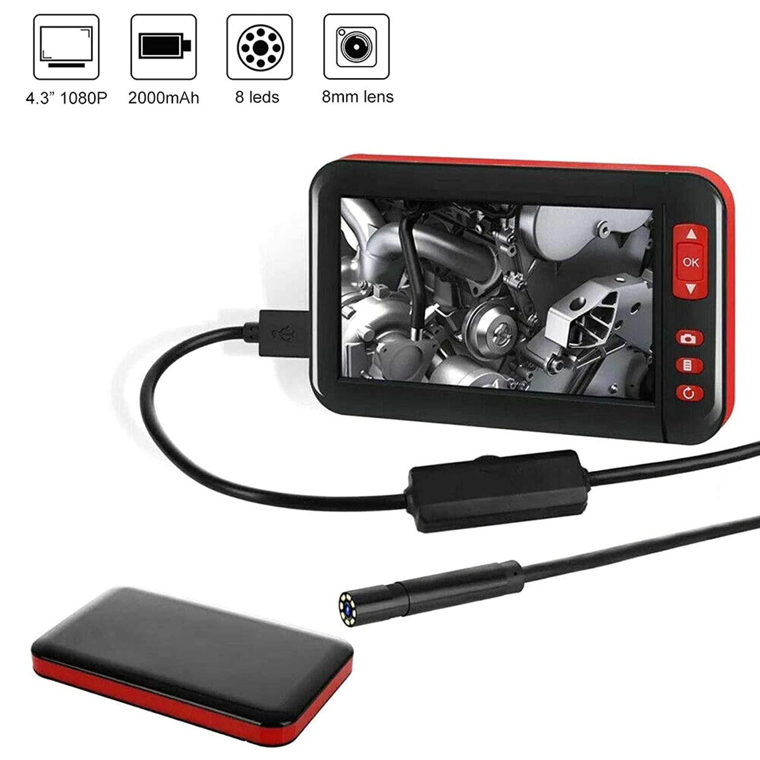 Endoscope Waterproof Video Inspection Camera  Colour LCD Monitor Lens mount LED