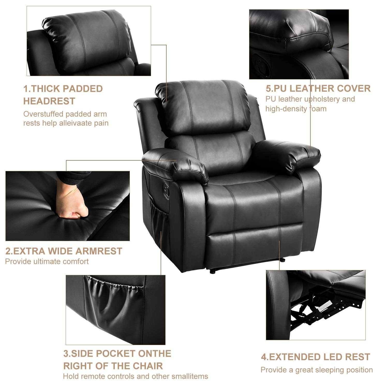 MIERES 1 Barwick PU Heated Massage Recliner Sofa Ergonomic Lounge with 8 Vibration Motors, (Black), Type 2