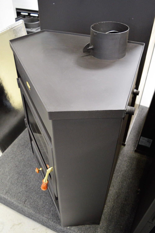 Estufa de leña con caldera esquina modelo de combustible sólido chimenea Prity AM D12: Amazon.es: Bricolaje y herramientas