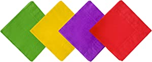 Cocktail Napkins, Jagrove 80 Pack 2 Ply Paper Beverage Napkins, Decorative Disposable Colorful Luncheon Dinner Napkins for Party Tableware Decoration, 4 Colors, 5X5 Inches Folded
