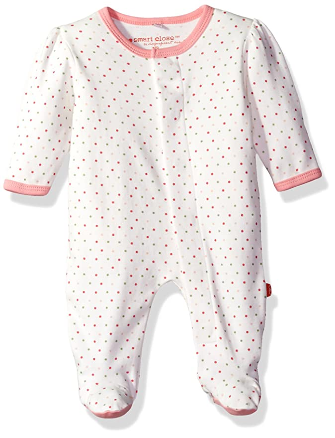 Magnetic Me by Magnificent Baby Baby Girls' Magnetic Lovebird Dot Footie, 6-9M