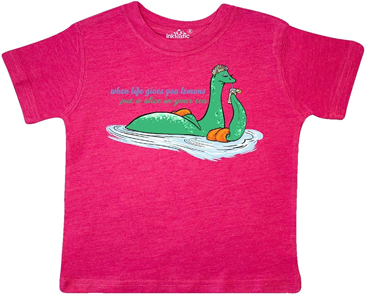 inktastic Loch Nessie When Life Gives You Lemons Sipping Tea Toddler T-Shirt