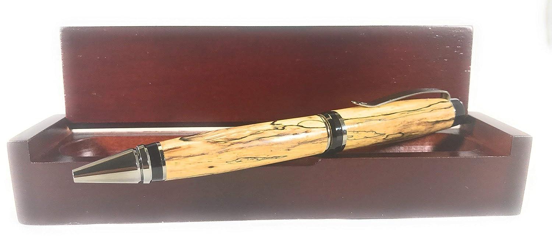 Partagas Ballpoint Pen - Spalted Tamarind with Black Titanium - Bendecidos Pens - Handmade Wood Pen for Christmas, Birthday, Anniversary, Wedding & Graduation Gifts