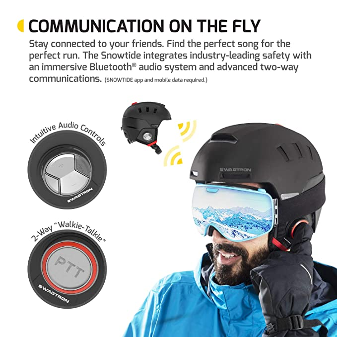 7e1cef40baf Amazon.com: Swagtron Snowtide Bluetooth Ski & Snowboard Helmet with Audio,  SOS Alert, Walkie-Talkie/Push-to-Talk (Unlimited Range) & More (Black):  Sports & ...
