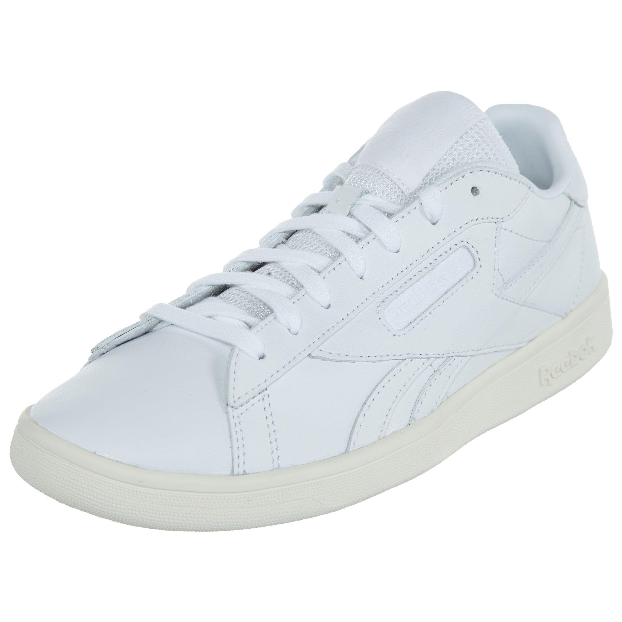 Reebok Women's NPC UK Lthr Track Shoe, White/Chalk, 7.5 M US