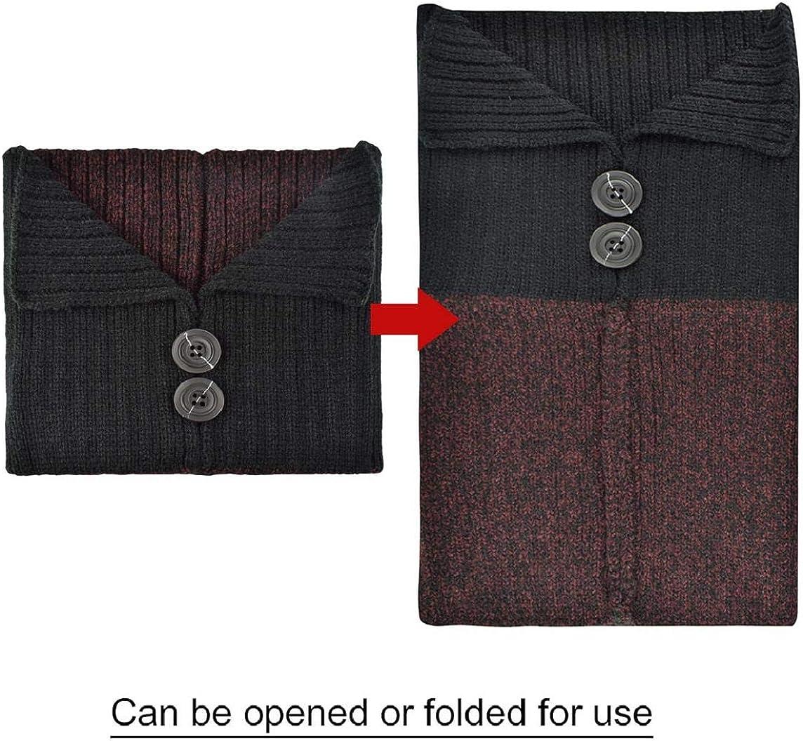 heekpek Conjunto de Invierno Unisex Gorro de Punto C/álido Bufanda y Guantes de Pantalla T/áctil con Bot/ón para Mujer