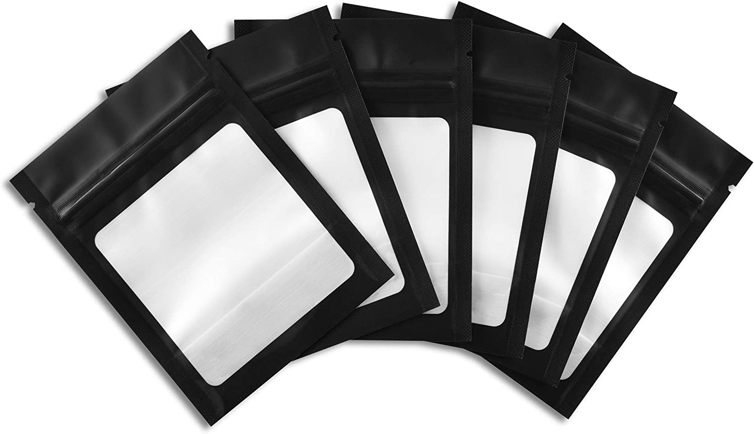 COLSEN 3 x 4 Inches 100 Pack Smell Proof Mylar Resealable Foil Pouch Bags - Food Safe Airtight Ziplock (Matte Black with Clear Window)