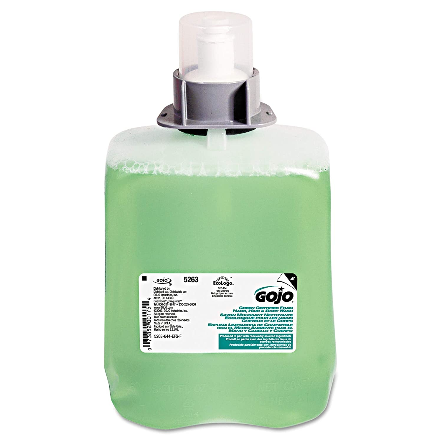 Gojo 5263-02 Green Certified Foam Hand Hair and Body Wash Fmx-20, 2000 Ml Refill, 2-Pack GOJO / Purell CA