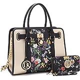 Medium Satchel Handbag Designer Large Purse Two Tone Padlock w/Shoulder Strap