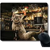 Personalized Custom Funny Bar Cheers Drinking Space Cat in High Heels Cmoputer Mouse Pad