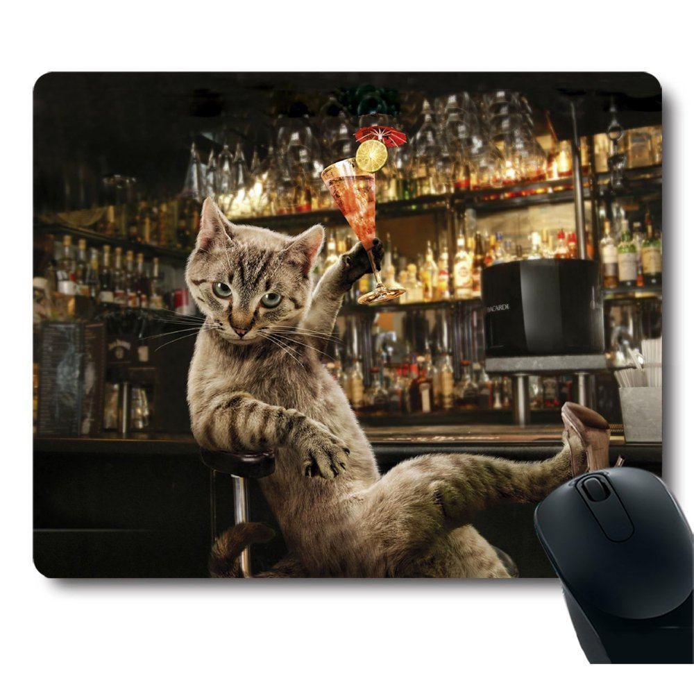 Knseva Cute Cartoon Cats Mouse Pad Doodle Composition of Animals with Various Quotes Hand Drawn Funny Design Mouse Pads