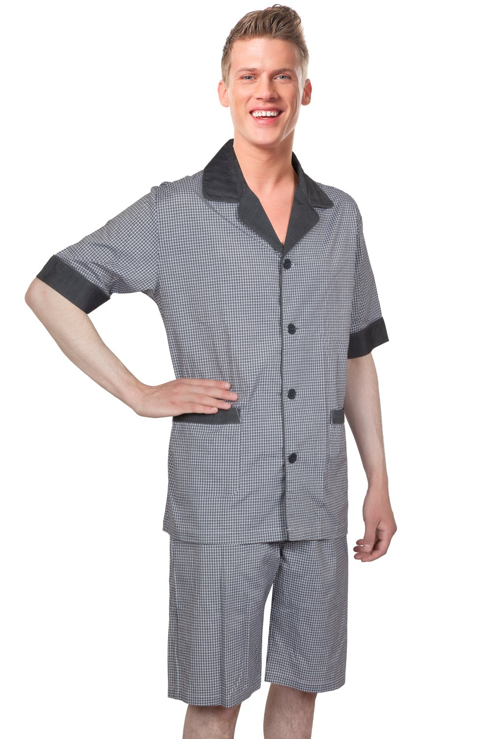 Benson & Brown Soft Woven Cotton Blend Men Short Pajamas Sleepwear/Loungewear Set