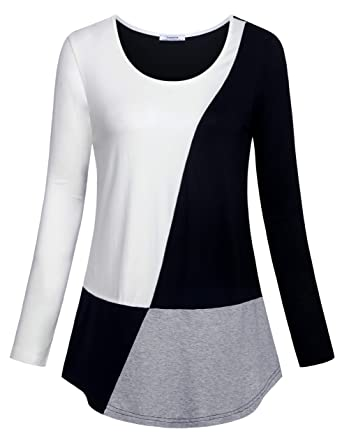55b59bd0 Youtalia Color Block Long Sleeve Shirt, Youth Business Office Flowy Hem  Knitted Tops Women Petite Plus White M: Amazon.co.uk: Clothing