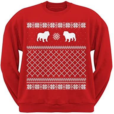bulldog red adult ugly christmas sweater crew neck sweatshirt small