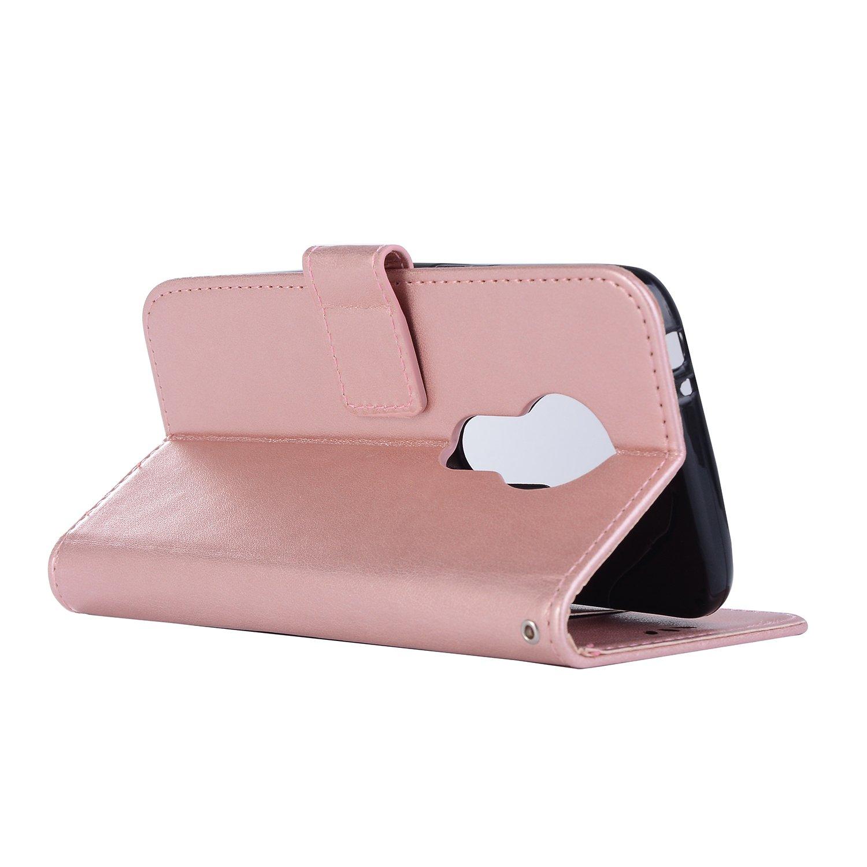Oro Rosa Cuero De La PU Magn/ético Capirotazo Billetera Apoyo Bumper Protector Cover Funda Carcasa Case sinogoods para Motorola Moto E5 Play Funda