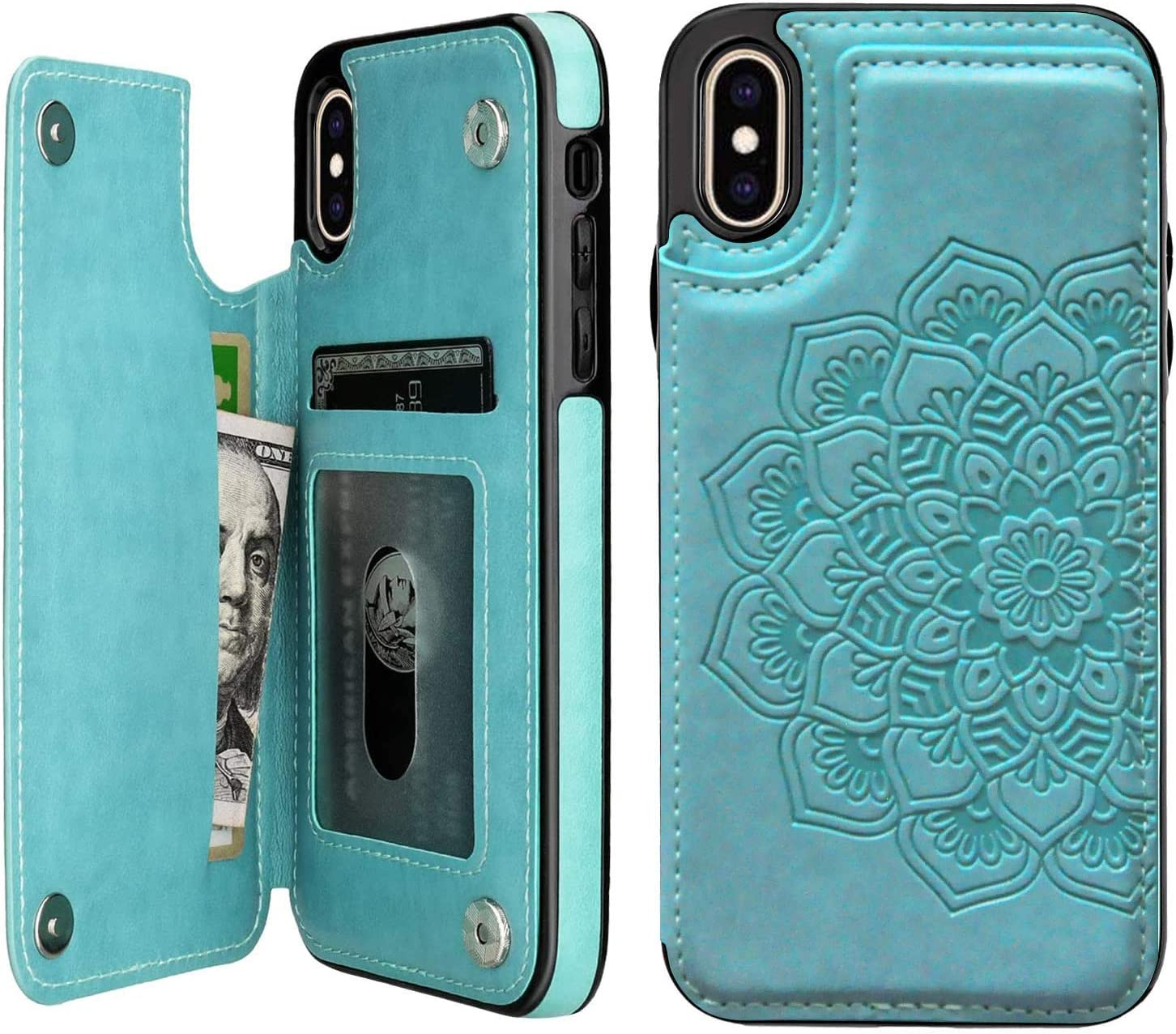 Apucase iPhone X Case/iPhone Xs Case,X/Xs Wallet Case Credit Card Holder Case,Protective Cover with Card Slot and Leather Case for iPhone X/Xs 5.8Inch (Green)