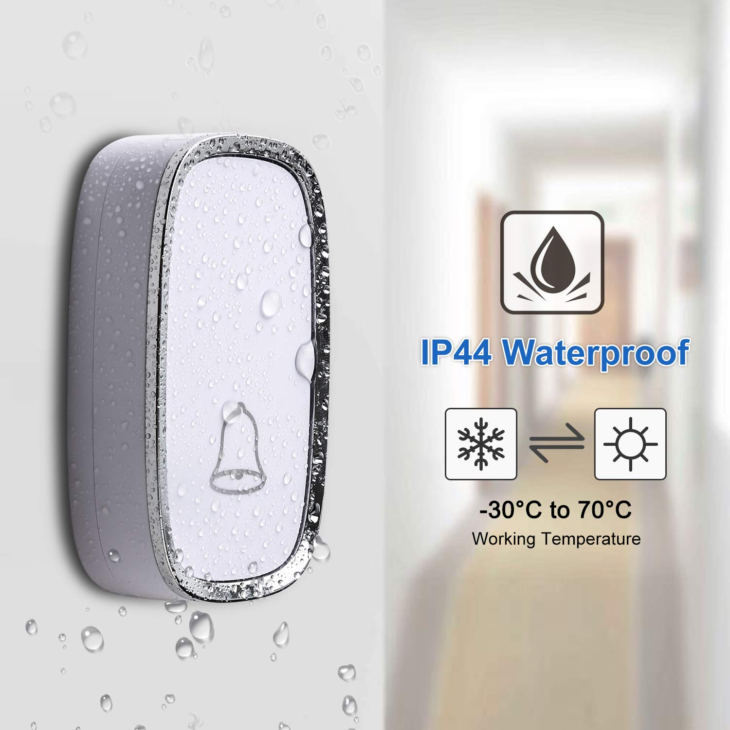 4 Level Volume 1000 Ft Long Range 36 Chimes 3 receivers + 2 push button AUTENS Wireless Doorbell Waterproof Door Bells /& Chimes with Plugin Receiver /& Push Button Transmitter Battery Operated LED Indicator