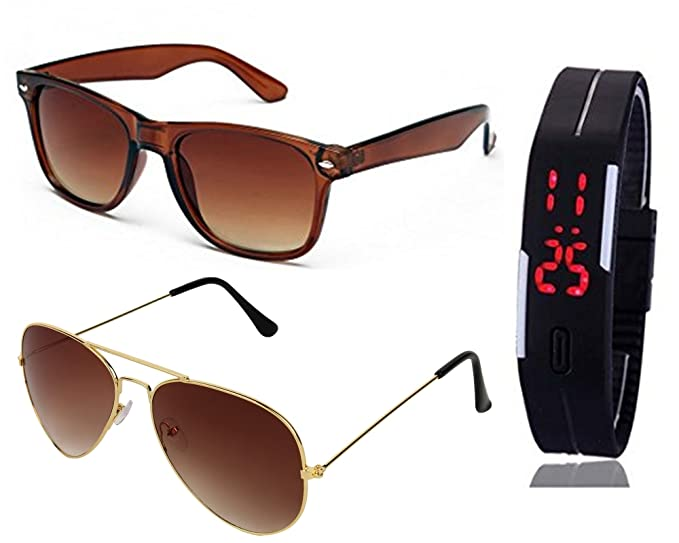 4aceb8688a3c SHEOMY SUNGLASSES 2 COMBO OF BROWN WAYFARER SUNGLASSES AND GOLDEN BROWN AVIATOR  SUNGLASSES WITH TPU BAND