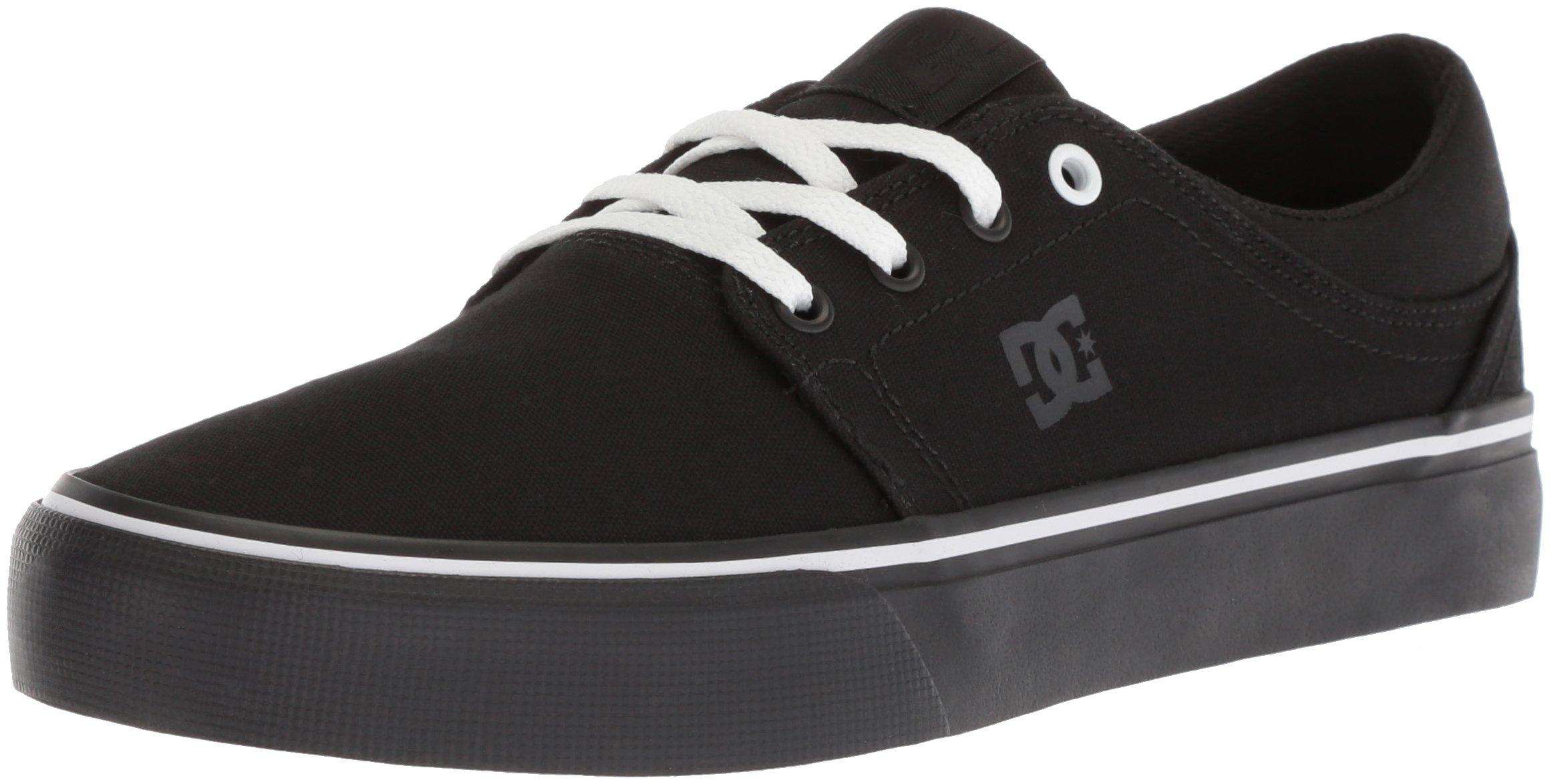 DC Women's Trase TX Skate Shoe, Black/Black/White, 7.5 B US