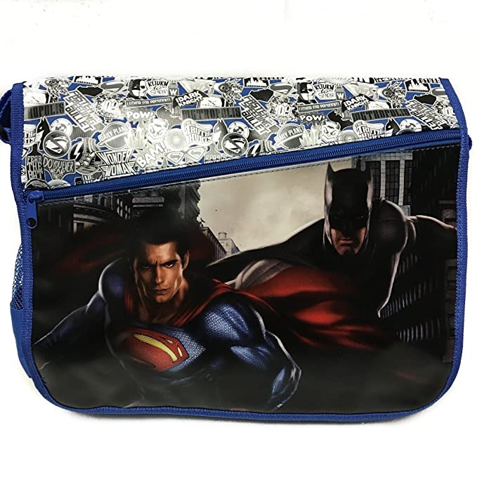 daef7425d871 Image Unavailable. Image not available for. Color  DC Comis Batman vs  Superman 16 quot  Large Black Messenger Backpack School Book Bag-BLUE
