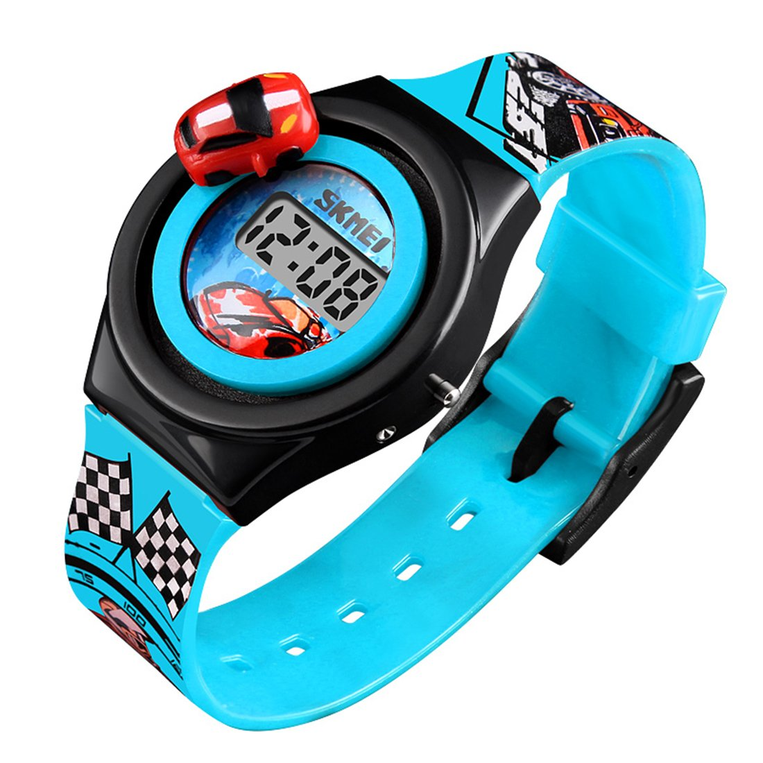 Kids Watches 3D Car Silicone Children Toddler Wrist Watches Time Teacher Gift for Boys Girls Little Child (Blue)