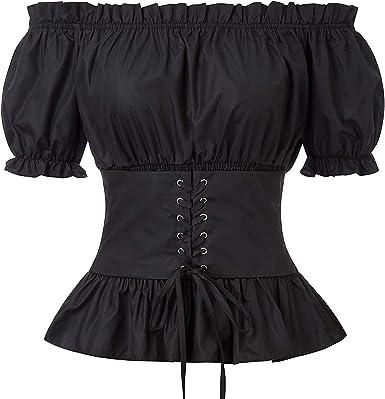Darkness - Camisa de Mujer con Hombros Descubiertos, Vintage, Estilo Victoriano, gótico, Steampunk, Tops Medievales: Amazon.es: Ropa y accesorios