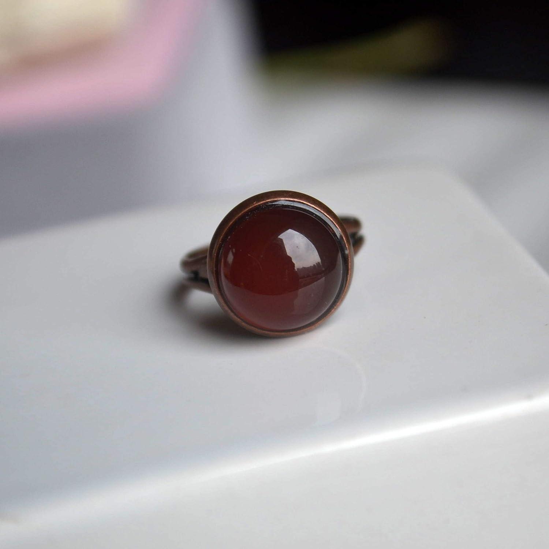 Ágata Roja Piedra Preciosa Natural Solitario Rojo Bronce Color Cobre Redimensionable Anillos