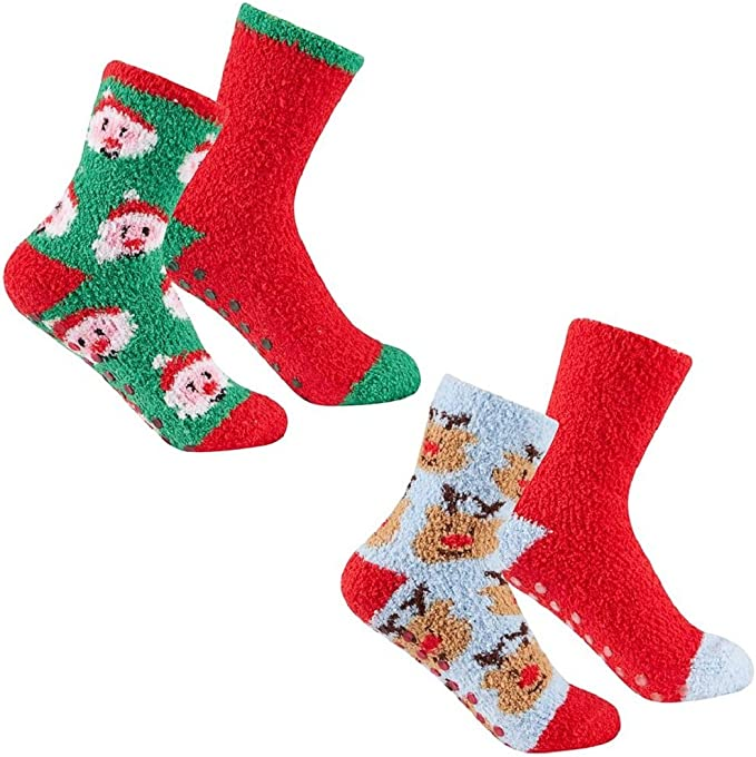 TUONROAD Kids Christmas Printed Slipper Socks Fluffy Lounge Socks With Grippers for 5-9T Girls Boys