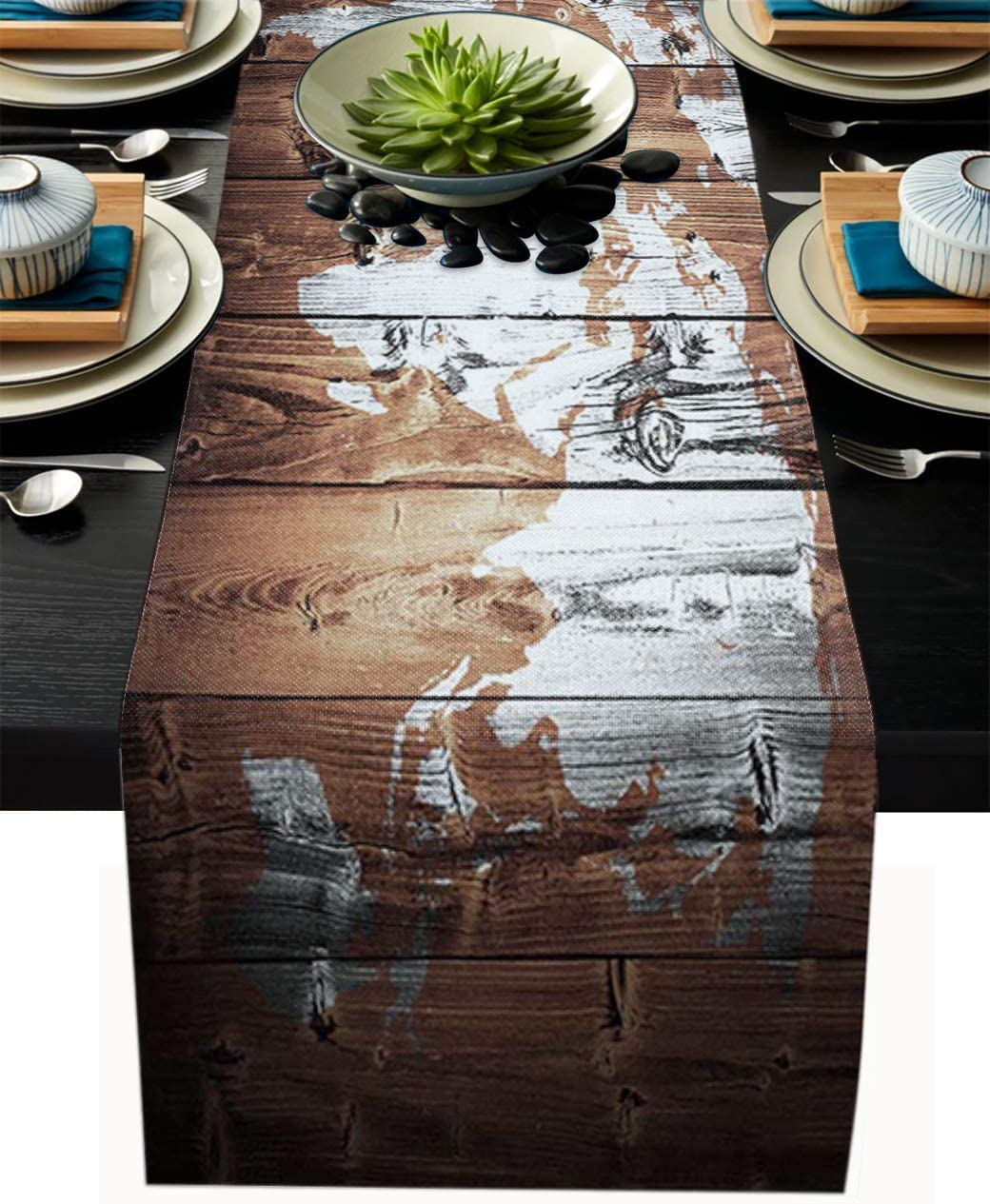 Home Collection dh Vintage Map of The World on The Wood Pattern Non-Slip Table Runner for Tabletop, Fashion Table Runners Perfect for Dinner Parties, Holidays, Everyday Decoration, 14x72in